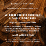 Soutenance de Doctorat : &laquo;&nbsp;Le dcor sculpt religieux  Paris (1660-1760)&nbsp;&raquo;