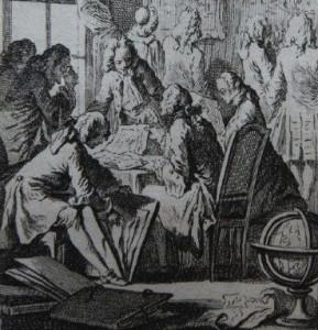 Cochin frontispice cat vente Quentin Lorangère 1744, vente amateurs