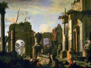 Marco Ricci, Scène imaginaire avec ruines et figures, 1725