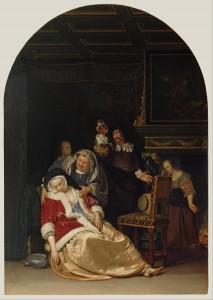 17. Frans van Mieris, La Visite du docteur, 1667, H:P, 44,5 X 31 cm., Californie, Getty Museum