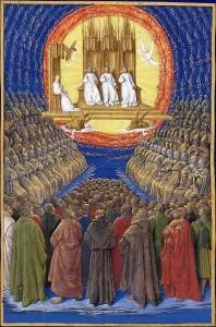 Jean Fouquet, Trinité et tous les saints, 1450, Heures d'Etienne Chevalier