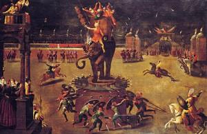 Antoine Caron, Carrousel à l'elephant (festivité à la cour de Catherine de Médicis) 1571, collection particulière