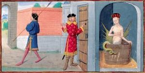 Mélusine, enluminure du roman de Mélusine par Jean d'Arras, 1450-1500, ms, Paris, BNF