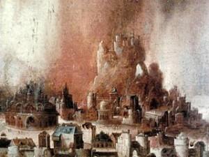 Henrri met de Bles, L'Incendie de Sodome, 1530, Musée de Varsovie