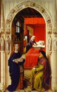 Rogier van der Weyden. Retable de Saint Jean-Baptiste. Naissance de saint Jean, détail,1455-1460, Berlin, Gemaldegalerie
