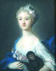 Rosalba Carriera, Portrait de jeune fille au singe, pastel, Paris, Louvre