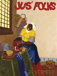Robert H. Colescott, jus-folks-by-vermeer, 1976