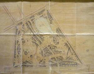 Fig. 1. Plan du parc Montsouris, 1867, Recueil de documents administratifs relatifs à la création et à l'aménagement du parc Montsouris, Bibliothèque de l'Hôtel de Ville, vol. 1, p. 107.