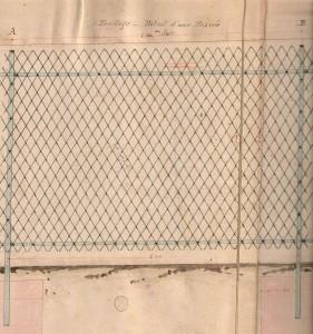Fig. 2. Modèle de grille pour la clôture du parc, 1877, Recueil de documents administratifs relatifs à la création et à l'aménagement du parc Montsouris, Bibliothèque de l'Hôtel de Ville, vol. 2, p. 88.