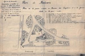 Fig. 8. Parc Montsouris, l'Observatoire astronomique, plan de la partie réservée au Bureau des Longitudes et au ministère de la Guerre, 1904, VM 90 406, Archives de Paris.