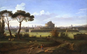 Gaspar van Wittel, dit Vanvitelli, «Vue du Chateau Saint Ange depuis les prés de Castello», vers 1710