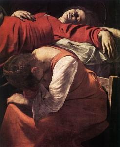 Michelangelo Merisi da Caravaggio, La Mort de la Vierge (détail)
