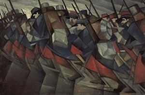 C.R.W. Nevinson, Returning to the Trenches (Retour à la tranchée), 1914,