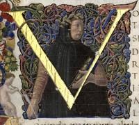 Portrait de Pétrarque, enluminure d'un manuscrit florentin contenant deux oeuvres de Pétrarque, XVe siècle