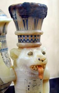 Vase à onguent en forme de lion prophylactique
