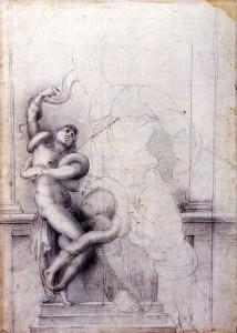 École florentine, Étude d'après Laocoon, vers 1560, Avignon, musée Calvet,