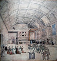 Anonyme, Une mascarade dans la salle aux médaillons du château de Binche, le 28 août 1549, Bruxelles