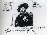 Rembrandt, croquis du Portrait de Baldassare Castiglione, 1639