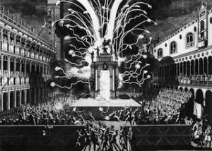 Vol de l'ange et feux d'artifices pour le jeudi gras, Venise, 1757