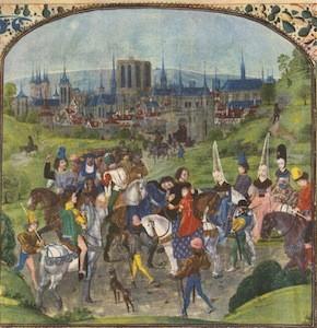 Vue de Paris, 'Chroniques de Froissart', manuscrit enluminé, XVe siècle