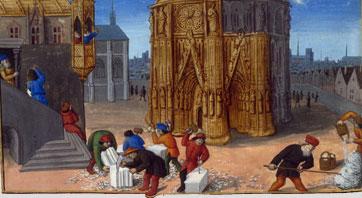 Construction du Temple de Jérusalem, enluminure du manuscrit Antiquités Judaïques de Flavius Josephe (détail)