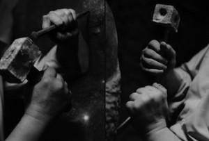René Adelys, Mains de sculpteurs taillant la pierre, 1956