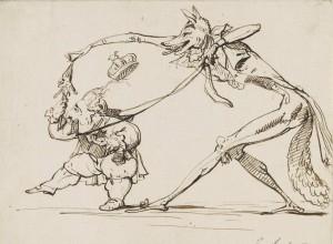 Jean-Baptiste Isabey, Caricature politique : un renard conduisant Louis XVIII avec un mors, c. 1815, Louvre