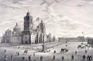 Fig. 2. Pedro Gualdi, Cathédrale de Méjico, 1841, lithographie parue dans Monumentos de Méjico tomados al natural y litografiados por Pedro Gualdi, 1841, Mexico, Massé et Decaen.