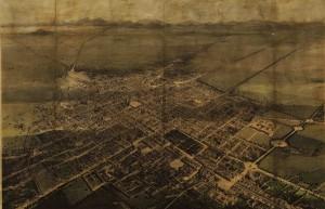 Fig. 4. Casimiro Castro, Vue panoramique de la ville de Mexico prise depuis une montgolfière, 1858, lithographie 52 x 82 cm, Mexico, D. F., Mapoteca Manuel Orozco y Berra, Inv. 1232-CGE-7252-A © MOyB - SAGARPA.