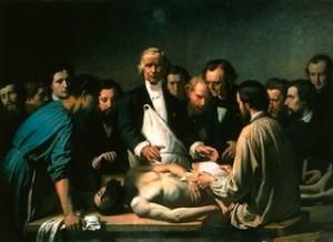 Augustin FEYEN-PERRIN, Velpeau enseignant à l'hôpital de la Charité (vers 1864), Tours