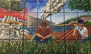 Bergers basques par Enrique Lezada, peinture murale, années 2000, Center of Basque studies (University of Reno)