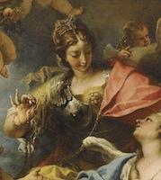 Sebastiano Ricci, Allégorie de la France sous la forme de Minerve (la Sagesse), détail, 1717, Paris, Louvre