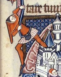 Détail d'une enluminure de David et Goliath, Bodleian Library MS Liturg.198