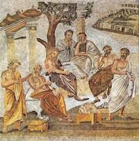 L'Académie de Platon, Mosaïque romaine retrouvée à Pompéi