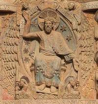 Christ, tympan de Conques (le Paradis)