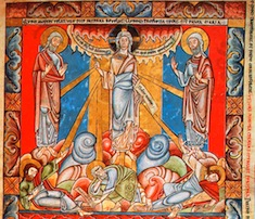 La transfiguration. Miniature de la Bible de Floreffe. 1165ss. Londres, British Library. Add. 17738, folio 4
