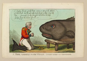 Thomas Rowlandson, A York address to the Whale, 5 Apr 1809. Hand-coloured etching