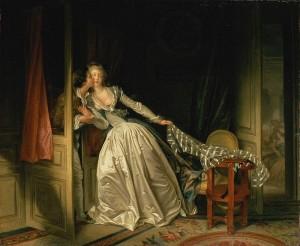 Fragonard, Le baiser volé, 1786, huile sur toile, 168,5 cm × 168,5 cm, Madrid: musée du Prado