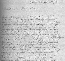 Lettre de Jacob Burckhardt an Friedrich Nietzsche, 1874