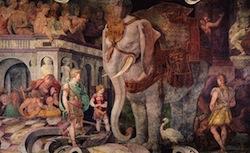 Rosso Fiorentino, L'éléphant fleurdelisé, fresque, 1534-1536, Fontainebleau, Chateau