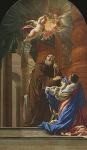 Simon Vouet, Saint François de Paule ressuscitant l'enfant de sa sœur, 1648, huile sur toile, Québec, église Saint-Henri-de-Lévis