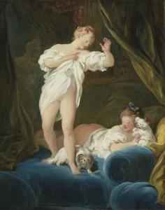 Fragonard, Deux jeunes filles sur un lit jouant avec leur chien, Londres, marché de l'art