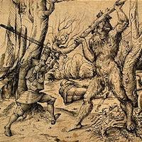 Hans Burgkmair l'Ancien, Le Combat dans la forêt, 1500, dessin, Washington, National Gallery of Art