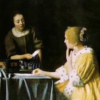 Jan Vermeer, La servante et sa maîtresse, détail, 1666, Frick Collection