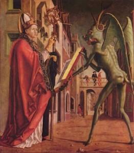 Michael Pacher, Saint Wolfgang et le diable (détail d'un retable)