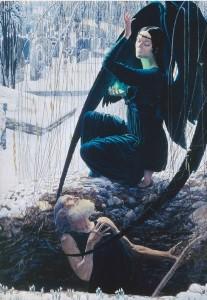 Carlos Schwabe, La Mort et le fossoyeur, 1900