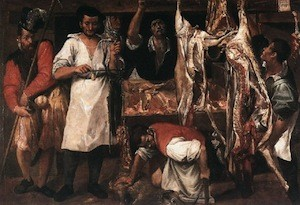 Annibale Carracci, Boucherie, vers 1582-3, Oxford, Christ Church Picture Gallery