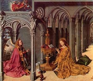 Barthélemy d'Eyck, Retable de l'Annonciation d'Aix, panneau central, 1443-1445