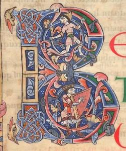 Le Roi David, détail, XIe siècle, MS Arundel 60, f. 13r