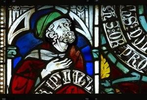 Carcassonne (Aude), cathédrale Saint-Nazaire, baie 8 : prophète associé à l'Arbre de vie ; vers 1310-1320. Photo Marc Kérignard, Région Languedoc-Roussillon